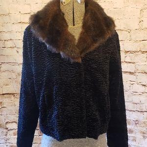 WHBM Faux Persian Lamb Wool/Fur Evening Jacket